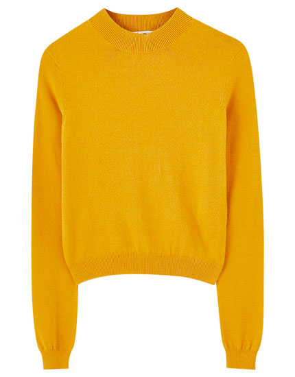 High neck basic sweater