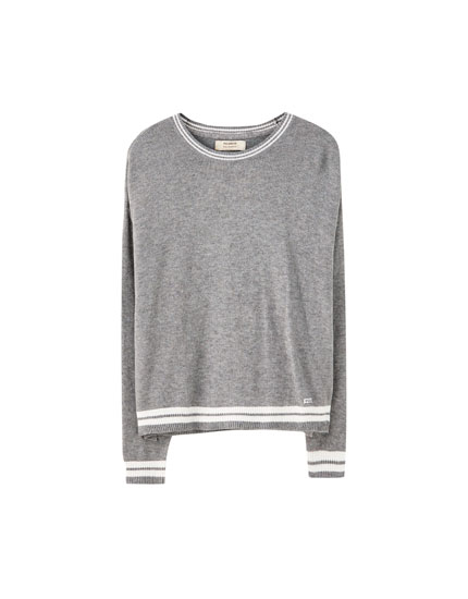 Basic contrast stripe sweater