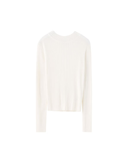 Basic ribbed high neck sweater