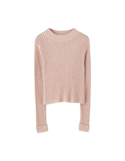 Regular fit ribstrikket sweater