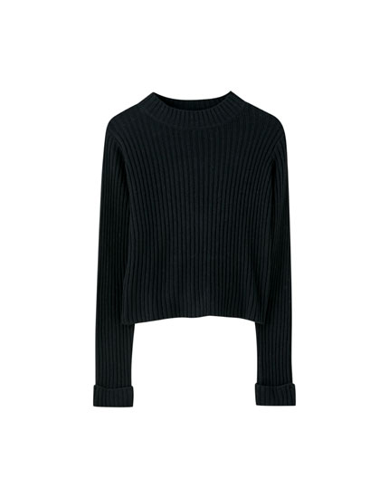 Regular fit ribbed sweater