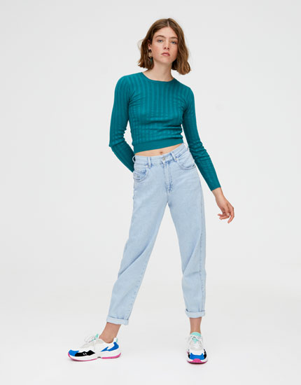 Open knit ribbed cropped sweater