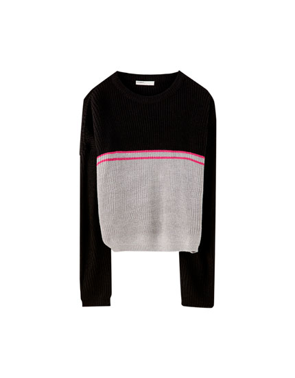 Sweater com color block e riscas
