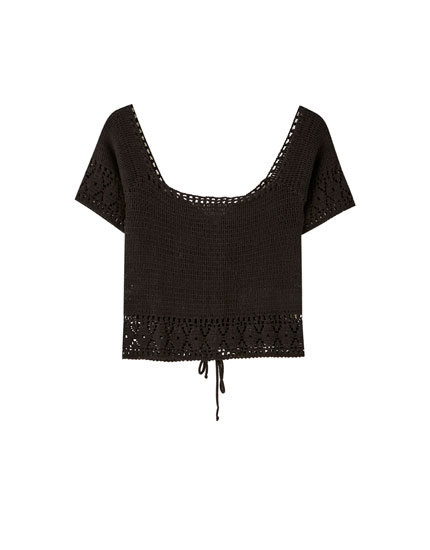 Crochet T-shirt with criss-cross back