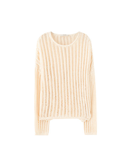 Open knit jumper with a ribbed neckline