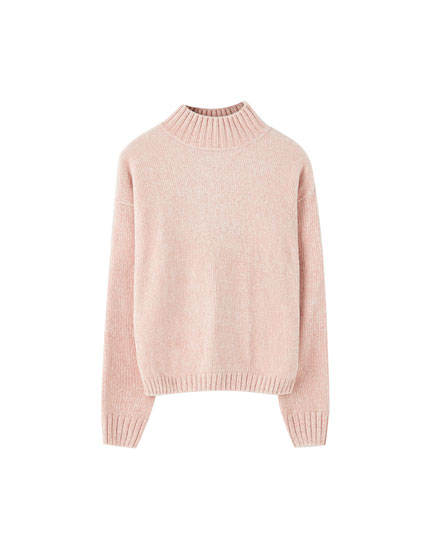 Basic chenille high neck sweater