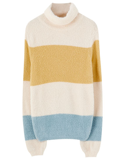Striped sweater in low-pile faux fur