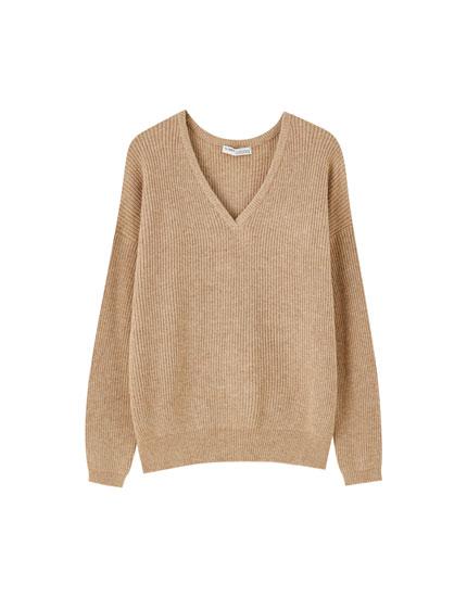 Brioche stitch V-neck sweater