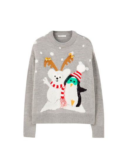 Grey bear and penguin sweater