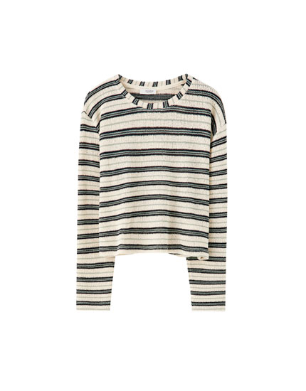 Contrast stripe knit sweater
