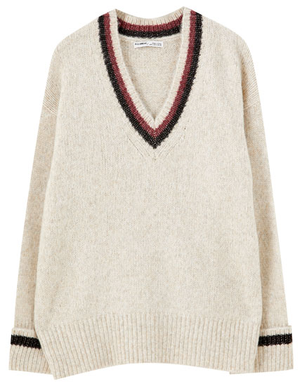 Sand sweater with contrast ribbed trims