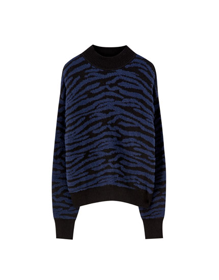 Faux fur sweater with zebra print