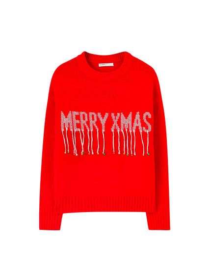 Red 'Merry Xmas' sweater