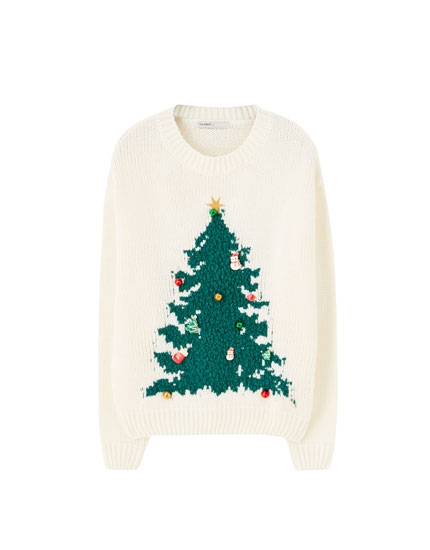 Sweater with tree design and sleigh bells