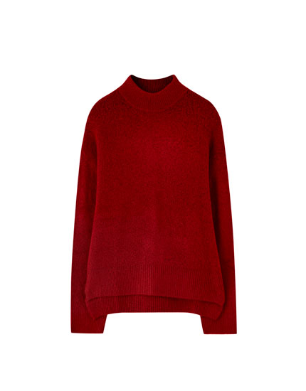 High neck sweater with slits