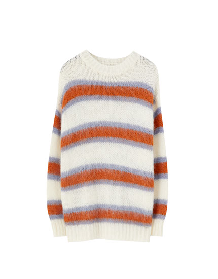 Oversized sweater with stripe print