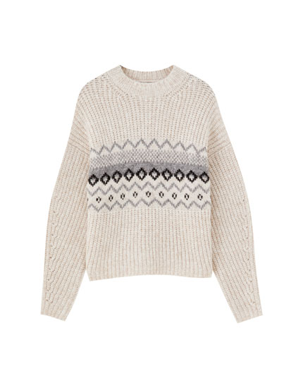Jacquard purl-knit sweater