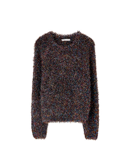 Multicoloured low-pile faux fur sweater