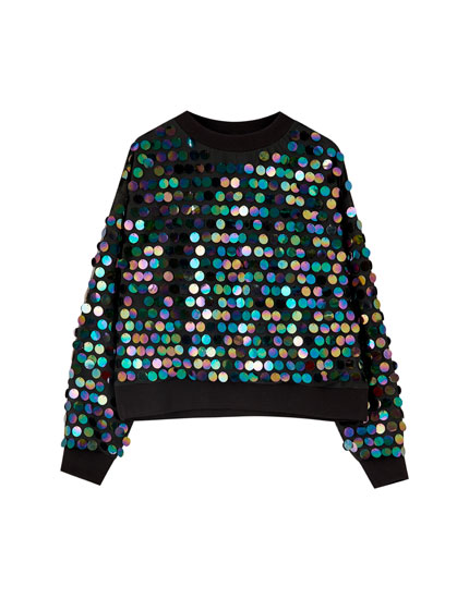 Black sweater with large sequins
