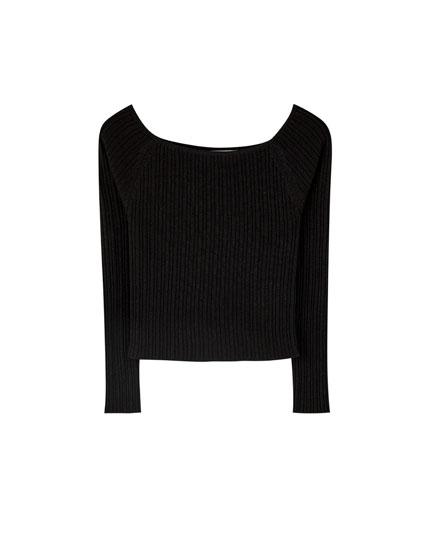 Long boatneck sweater