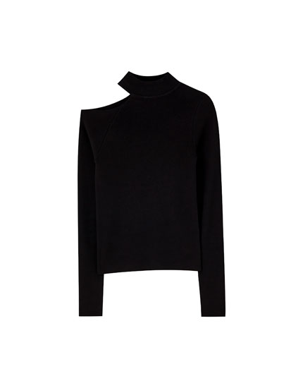 Cut-out high neck sweater
