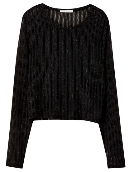 Black sweater with shiny detailing