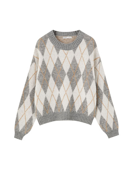 Argyle print jacquard sweater