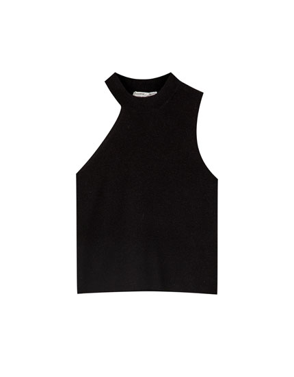 Asymmetric halterneck top