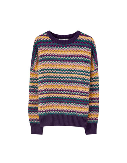 Multicoloured striped jacquard sweater