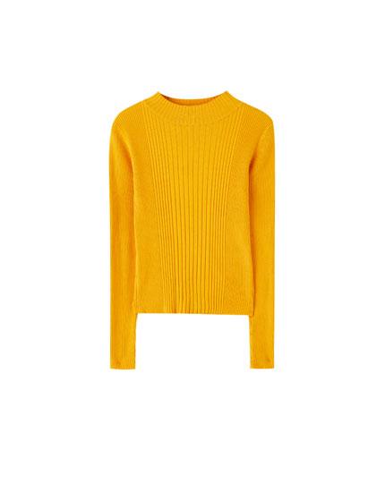 Basic ribbed high neck sweater
