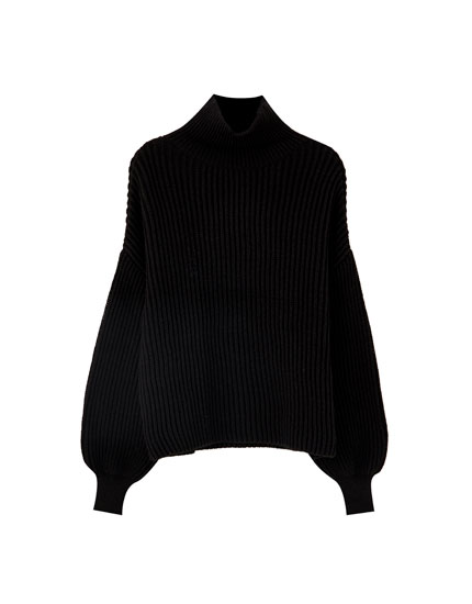 Puff sleeve ribbed sweater