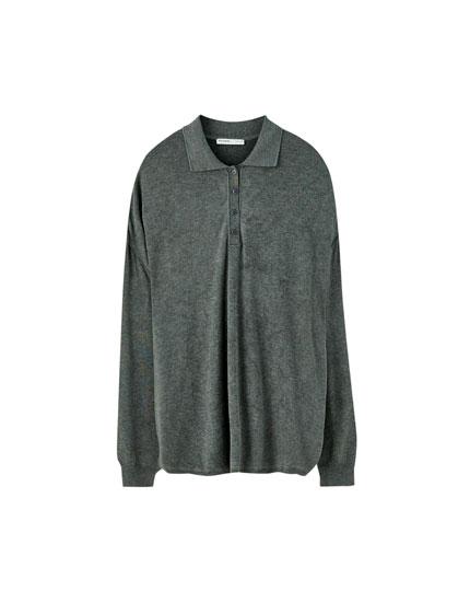 Oversize-Pullover im Poloshirt-Stil
