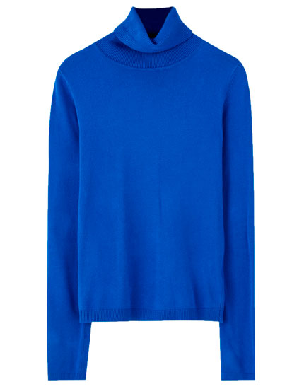 Blue basic high neck sweater