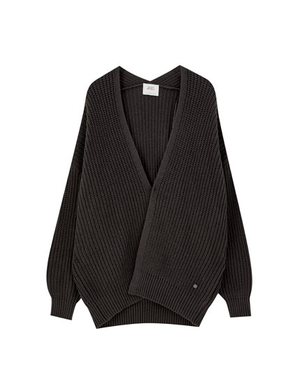 Basic black knit cardigan