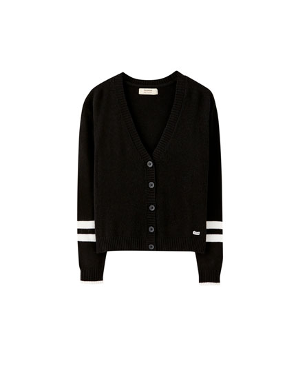 Basic contrast stripe jacket