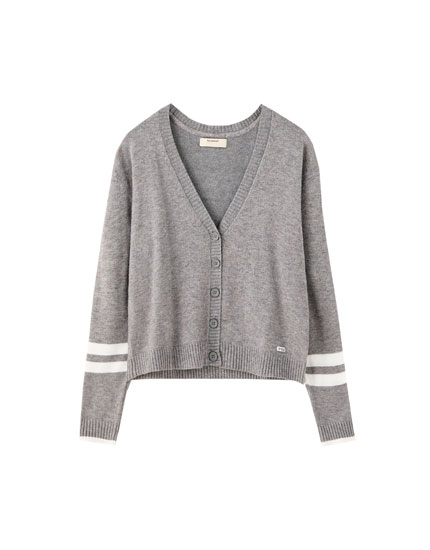 Basic contrast stripe cardigan