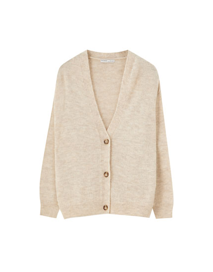 Ribbed cardigan with buttons