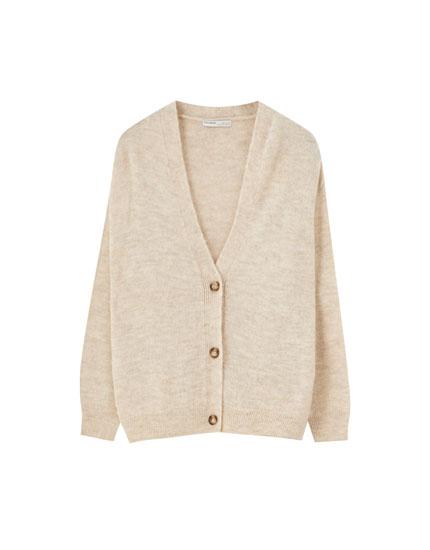 Basic knit button-up cardigan