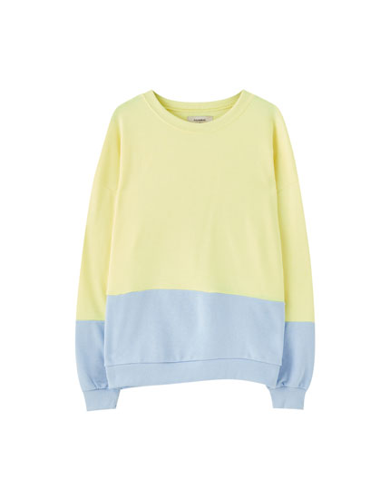 Pastel yellow colour block sweatshirt