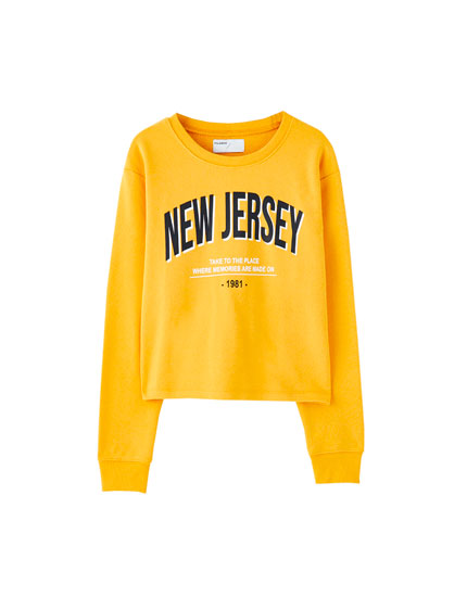 Sweatshirt mostarda cropped new Jersey