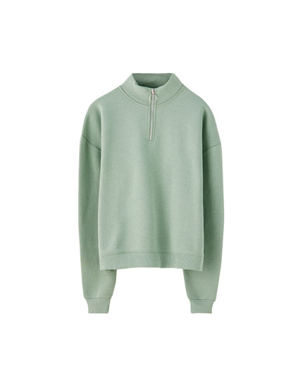 Basic sweatshirt with zip collar
