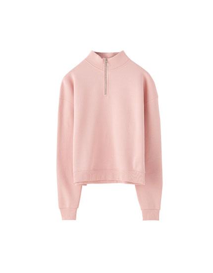Basic sweatshirt with zip collar