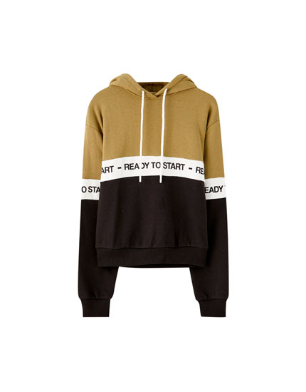 Colour block and slogan sweatshirt