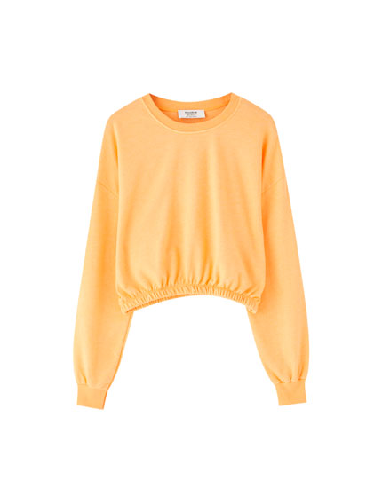 Cropped sweatshirt with elastic hem