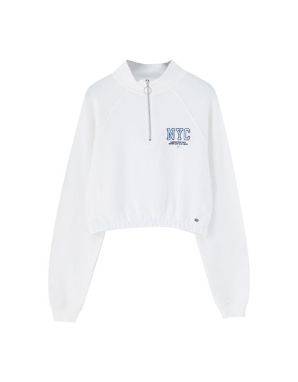 White sweatshirt with zip collar