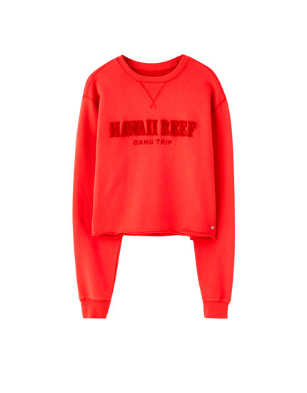 Red sweatshirt with raised slogan