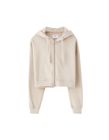 Coloured cropped hoodie