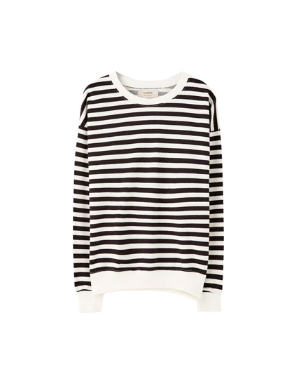 Basic contrast stripe sweatshirt