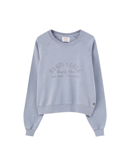 Basic, broderet sweatshirt