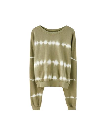 Sweatshirt com estampado tie-dye em caqui